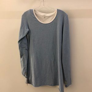 Lululemon blue reversible to white l/s top sz 10